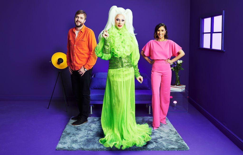 Love Island narrator Iain Stirling, journalist and presenter Anita Rani, and drag queen Divina de Campo