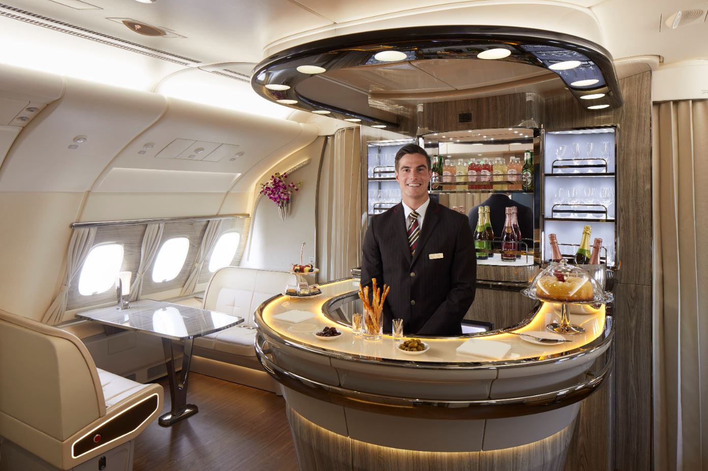 Emirates onboard bar. How Emirates is taking its A380 luxury to new heights