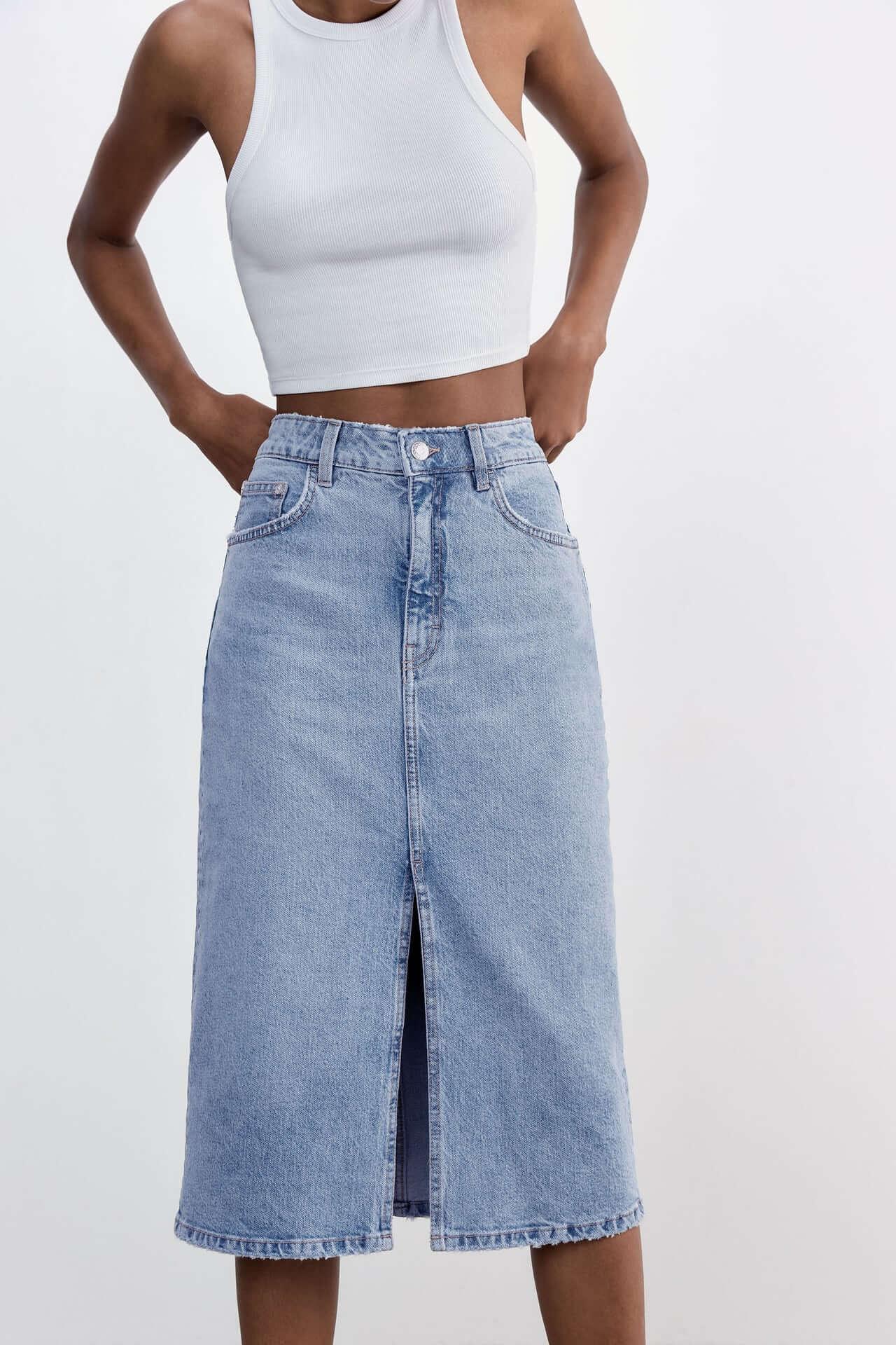 Al Fresco Fashion: Viva has you covered -Zara.com, Denim SKirt £25.99.